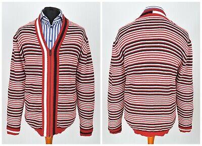 Mens Holzweiler Zip Cardigan Jumper Red Striped Robert Italy Cotton V-Neck Size