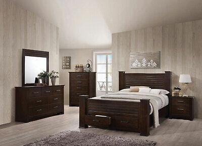 NEW Transitional Brown Bedroom Furniture - 5pcs Queen Poster Storage Set IAAJ