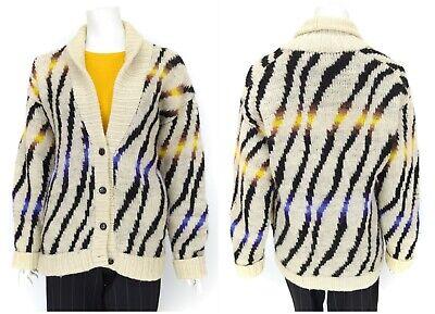 Womens Kansai Yamamoto 1980s Japan Cardigan Sweater Wool Knit Multicolor Size M
