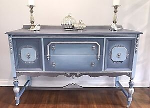 One of a kind hand painted vintage sideboard buffet