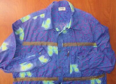 Vintage Versace Sport Geometric Print Pure Cotton Casual Dress Shirt 52 ~Italy~