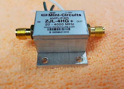 Mini Circuits Zjl-4hg Rf Amplifier 20-4000 Mhz 17 Db 12v Sma Connector Bw459