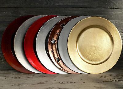 zeller Unterteller Kunststoff gold silber braun rot weiß  (Rote Kunststoff-teller)