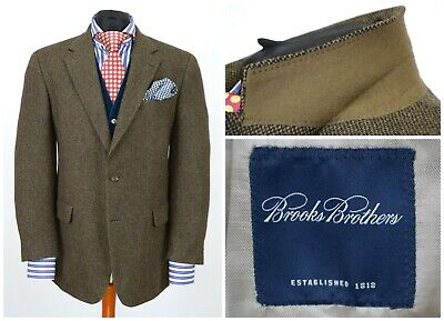 Mens Brooks Brothers 2 Button Blazer Jacket Lambswool Brown Size UK42 EU52