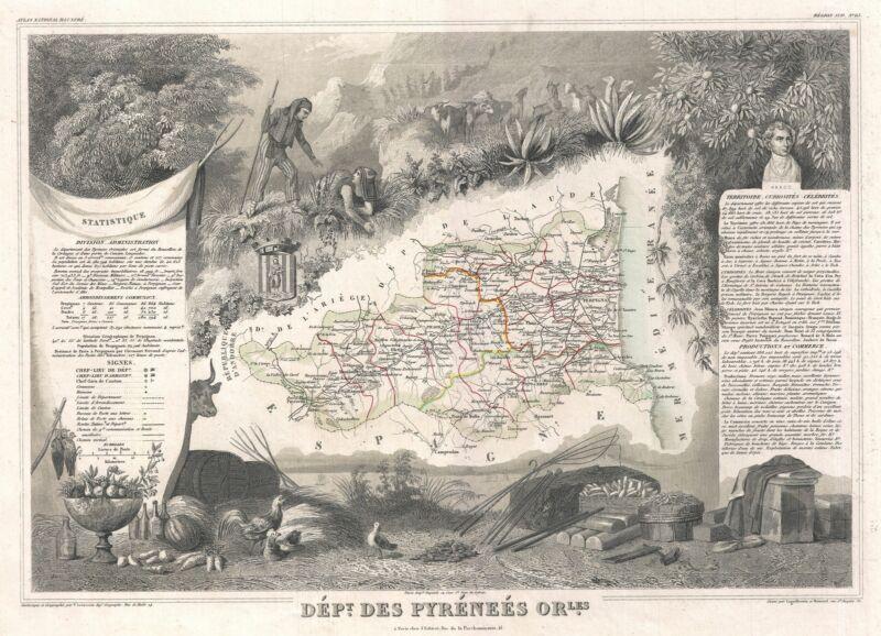 1852 Levasseur Map of Department Des Pyrenees Orientales, France (Muscat Wine)
