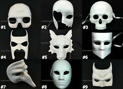 Sugar Mask Halloween (DIY Halloween Unpainted White Masquerade Mask Doctor Wolf Purge Sugar Skull)