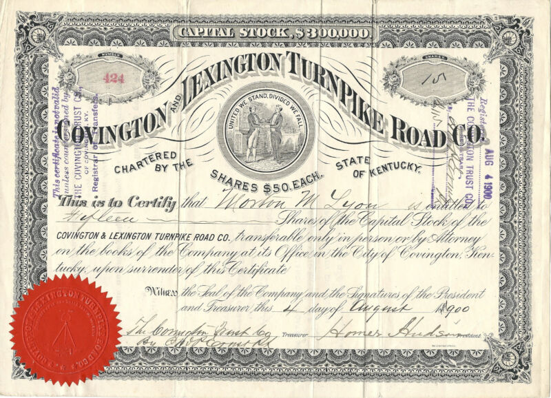 KENTUCKY 1900, Covington & Lexington Turnpike Road Co  Stock Certificate