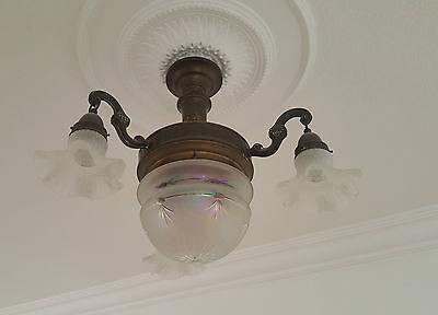 elegante Lampe Hängeleuchte @ Gründerzeit / Jugendstil @ Bronze ?