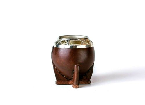 Yerba Mate Gourd - Without Straw - Brown, Mate Torpedo Cincelado - Marrón