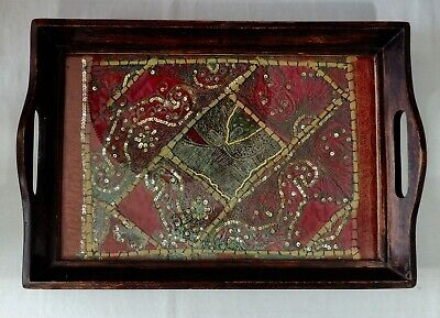 Wood Serving Tray Glass Over Textile Sequins Pearls Hand Worked Fabric