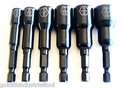 Nuts Laser - 6pc GOLIATH INDUSTRIAL 2-9/16 IMPACT MAGNETIC NUT DRIVER SETTER SET LASER ETCHED