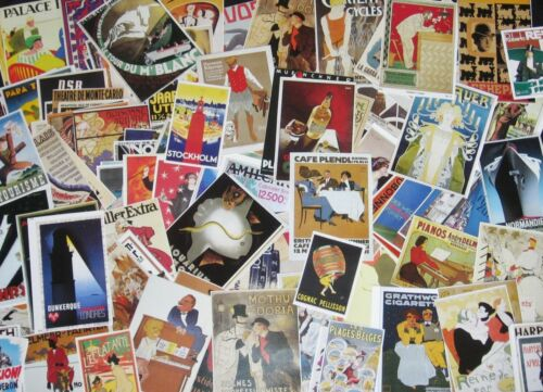 GRAB BAG!Vtg Mini Art Poster/Ad Repro Mix~Collage Scrap Lot~French,Deco,Travel++