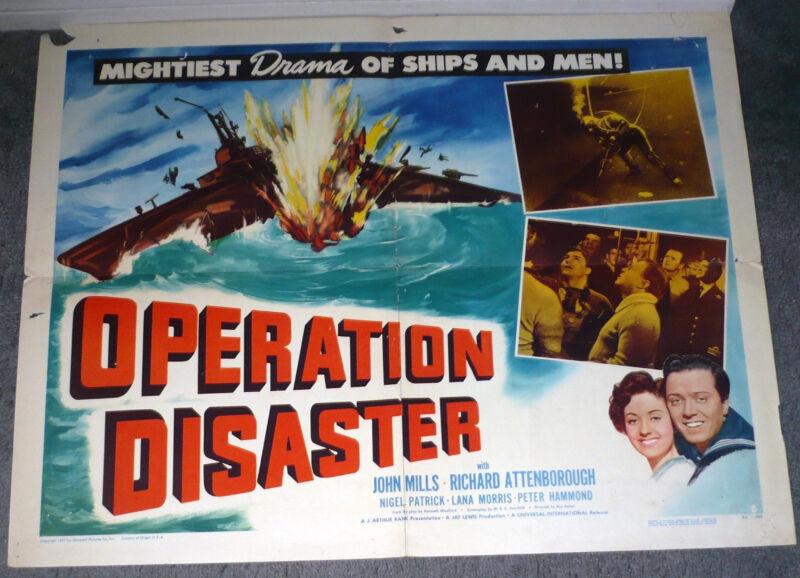 OPERATION DISASTER orig 1951 WW2 movie poster SUBMARINE/RICHARD ATTENBOROUGH