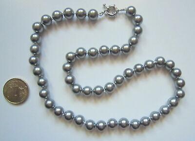 Collar de perlas cristal nacarado 8 mm gris oscuro 46 cm concha...