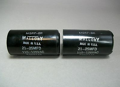 Mallory Capacitor Psu2115 Lot Of 2 Msrp-811 110-125vac Free Shipping - New