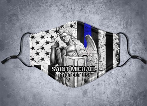 St. Michael Archangel Protect Us Thin Blue Line Face Mask Cover 5 Layer Filter