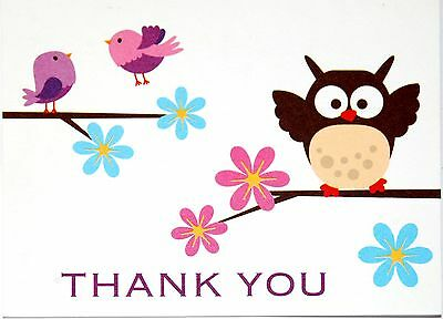 - 5 ADORABLE QUALITY OWL & BIRDS MOTIF BLANK THANK YOU CORRESPONDENCE NOTE CARDS