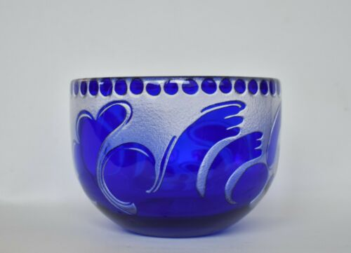 Vintage Bertil Vallien Boda Afors Unique Cameo Glass Bowl 1960s Kosta