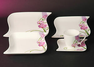 Ocean Orchidee Dekor Kombi Service 30 teilig Porzellan Geschirr Set Neu Eckig