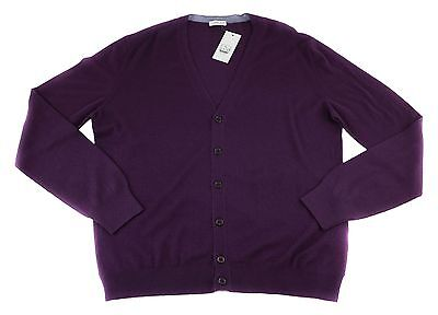 Men's COUNTRY CLUB Purple 6Btn Vintage Dyed Cardigan Jumper Sweater 52 L NWT