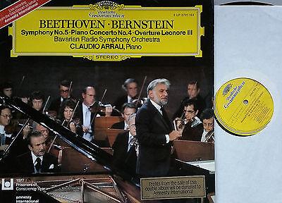 BEETHOVEN Piano Concerto 4 Symphony 5 Bernstein Arrau Live Munich 2LP DG 2721153