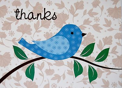 - 5 BEAUTIFUL QUALITY BLUE BIRD MOTIF BLANK THANK YOU CORRESPONDENCE NOTE CARDS