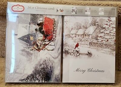 New Trim A Home Christmas Cards 16 Ct Glitter 4 Designs Sleigh Ride Cardinal