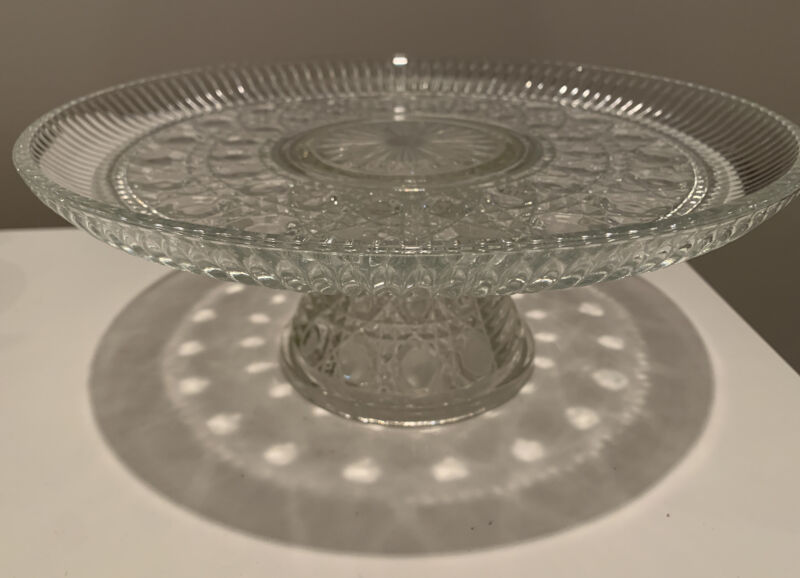 Stunning! Vintage Windsor Clear Glass Cake Stand, Federal Glass, Button And Cane