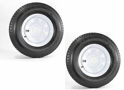2-Pk Trailer Tire On Rim ST175/80D13 175/80 13 in. LRC 5 Hole White Spoke Wheel