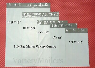 150 Poly Bag Plastic Postal Envelope Mailer Variety Combo 30 Each Of 5 Sizes