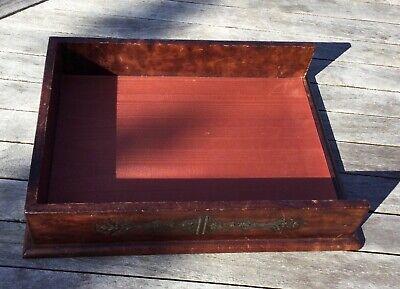 Vtg Horchow Florentine Letter Desk Tray Brown Leather Gold Trim Satin Bottom