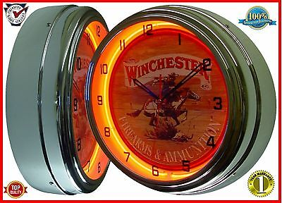 "Winchester Firearms & Ammunition Sign 16"" Orange Neon Lighted Wall Clock Chrome"