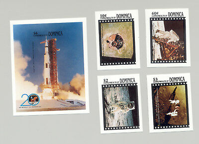 Dominica #1196-1200 Apollo 11, 1st Moon Landing, Space 4v & 1v S/S Imperf Proofs