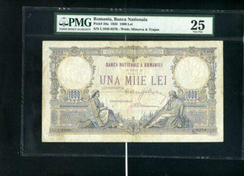 Romania 1000 lei 1933 P34 - VF