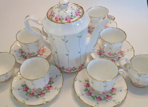 Vintage Adderly England Bone China Flowers Vines Chocolate Set Coffee Pot Cups