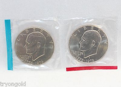 1976 BICENTENNIAL P & D EISENHOWER IKE $1   TWO COIN SET IN CELLO   TYPE 2