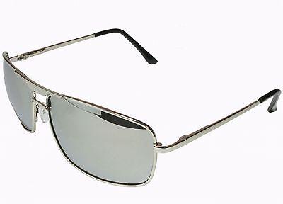 Men Women Sunglasses Mirror Lens Aviator Square Silver Metal Frame Deluxe Hinge