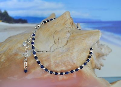 Dark Blue Lapis Lazuli & .925 Sterling Silver Bead Ankle Bracelet 9 to 11 Inches