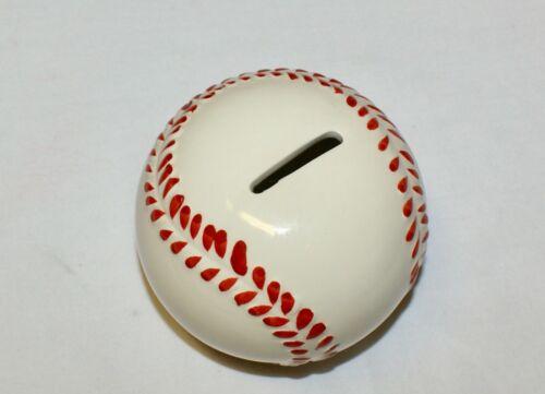 "Baseball Coin Piggy Bank Ceramic 4.25"" NEW Shower Party Favor"