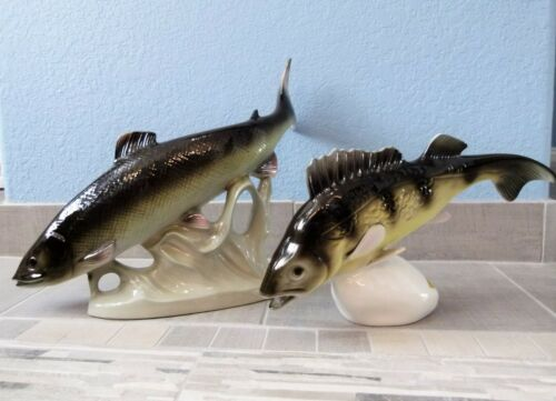 Two (2) ROYAL DUX BOHEMIA Porcelain Sculptures TROUT & WALLEYE Fish EUC