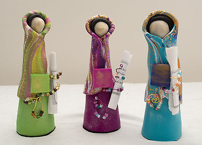 """Made-in-the-USA 6"""" Tall Colorful Polymer Clay Prayer Partner Doll by Gwen Piña"""