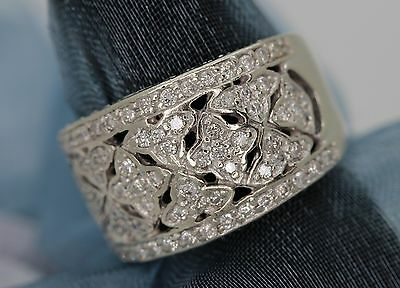 Italy 14k White Gold Pave Diamond Ring with Four Point Star Symbols 102 Jewels 14k White Gold Four Stone