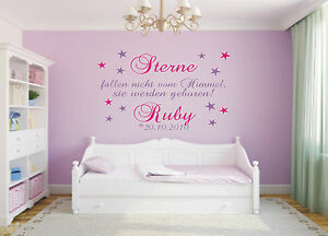 wandtattoo sterne fallen nicht wunschname baby datum kinderzimmer ebay. Black Bedroom Furniture Sets. Home Design Ideas