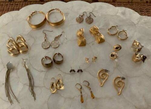 15 Pairs Earrings Vintage Jewelry Gold Tone Jewelry Lot Untested Wearable