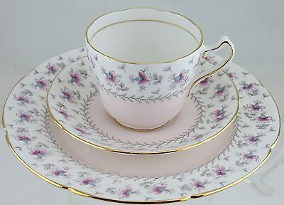 VINTAGE ROYAL GRAFTON CUP SAUCER PLATE SET TRIO PASTEL PINK FLOWERS GOLD RIMS