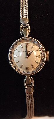 Vintage 14k White Gold Ladies Movado Wrist Watch  w/ Faceted Crystal