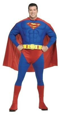 Superman Costume Adult Mens Plus Size Deluxe Muscle Chest Superhero Halloween  - Superman Plus Size Costume