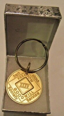Used, NARCOTICS ANONYMOUS  NA KEY TAG 35  YEAR Keyring medallion Serenity Clean for sale  Shipping to Canada
