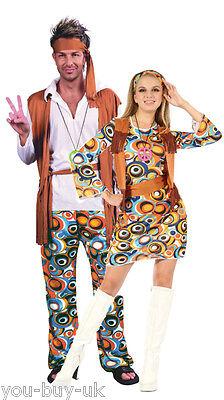 Mens 60's 70 S Kostüme (Adult Ladies Mens Couple Groovy Hippy Hippie Costume 60s 70s 1960s Fancy Dress)