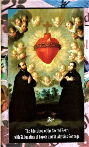 """Adoration of the Sacred Heart (2"""" x 3 1/2"""") Heavy Paperstock Holy Card"""
